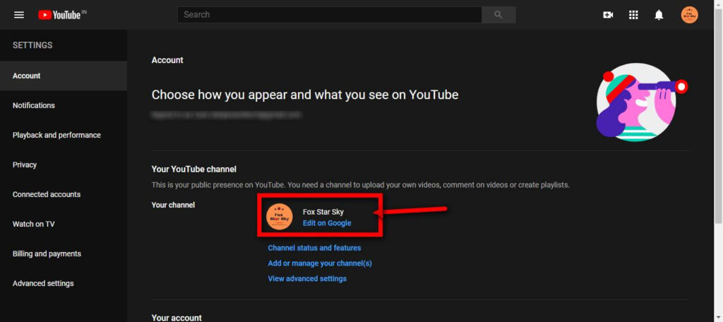 Step 3 change YouTube channel name